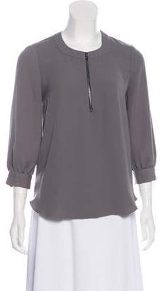 L'Agence Zip-Accented Scoop Neck Blouse