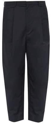 Deveaux - Tapered Leg Cotton Blend Poplin Trousers - Mens - Navy