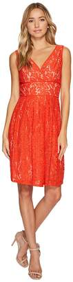 Adrianna Papell V-Neck Fit and Flare Lace Dress Women's Dress