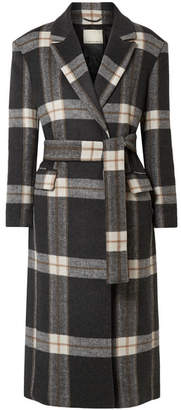 By Malene Birger Mariana Checked Brushed-felt Coat - Charcoal