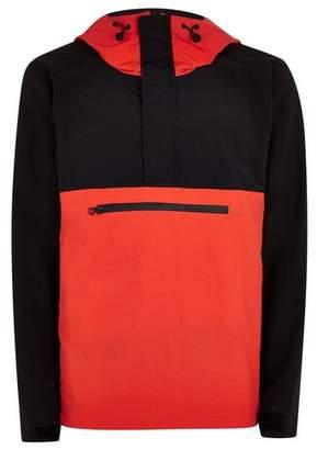Topman Mens Multi Red And Black Overhead Windbreaker Jacket