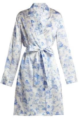 Derek Rose Brindisi 27 Silk Kimono - Womens - Blue Print