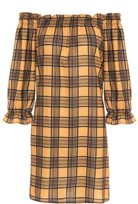 Quiz Mustard And Black Check 3/4 Sleeve Tunic Dress