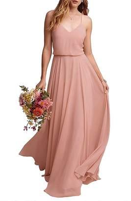 VaniaDress Women Spaghetti Strap Long Bridesmaid Dress Formal Gown V097LF US