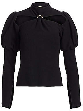 Cult Gaia Women's Mora Puff-Sleeve Cutout Top