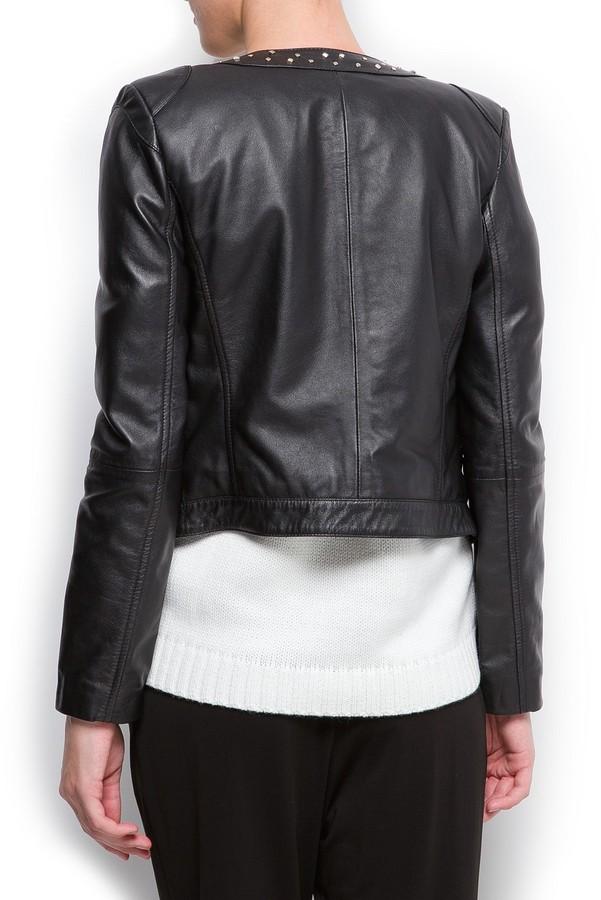 MANGO Studded leather jacket