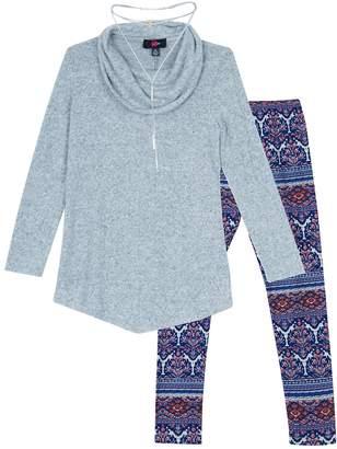 Amy Byer Iz Girls 7-16 & Plus Size IZ Long Sleeve Tunic & Leggings Set with Necklace