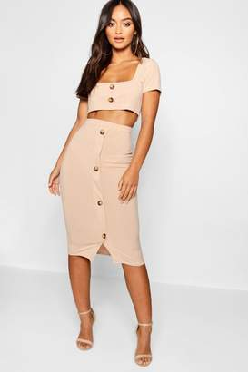 boohoo Petite Mock Horn Rib Top & Midi Skirt Co-Cord