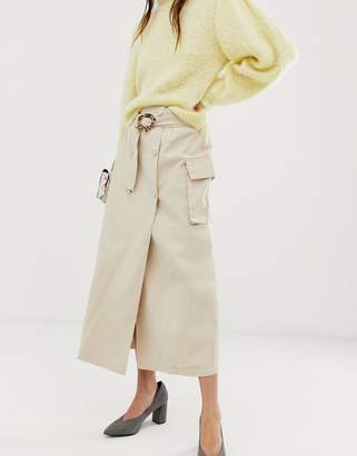 Asos Design DESIGN denim double breasted midi skirt with buckle in stone