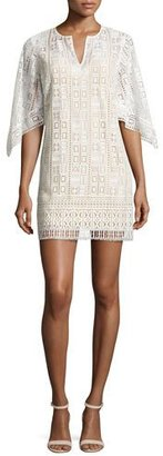 BCBGMAXAZRIA Tati Geometric Lace Mini Dress, Off White $268 thestylecure.com
