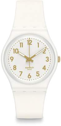 Swatch Analog Goldtone Accent Silicone Watch