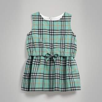 Burberry Gathered Check Cotton Dress