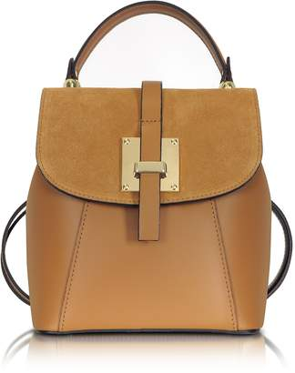 Le Parmentier Palazia Caramel Suede and Leather Small Backpack