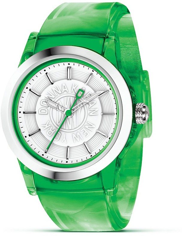 DKNY Watch with Green Rubber Strap, 37.5 mm