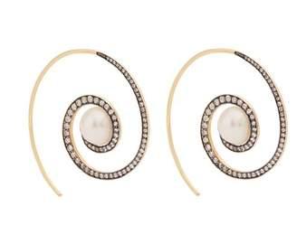 Noor Fares - Spiral Moon 18kt Gold, Diamond & Pearl Earrings - Womens - Pearl