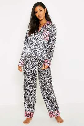 boohoo Contrast Leopard Satin PJ Set