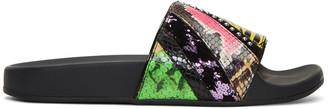 Marc Jacobs Multicolor Patchwork Punk Cooper Slides $195 thestylecure.com