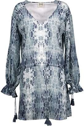 Haute Hippie Tassel-Trimmed Tie-Dyed Chiffon Mini Dress