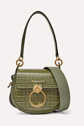 Chloé Tess Small Croc-effect Leather Shoulder Bag - Army green