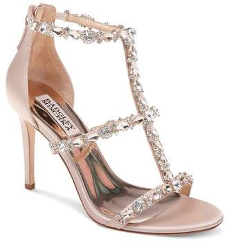 Badgley Mischka Women's Querida Embellished Metallic Satin High-Heel Sandals