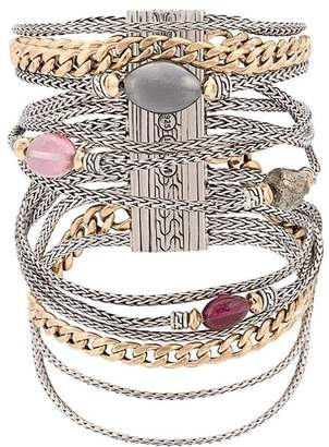 John Hardy Adwoa Aboah 18kt Yellow Gold, Silver and Mixed Stone Classic Chain Multi-Row Bracelet