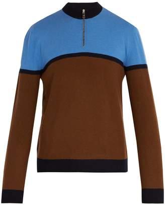 Prada Half-zip stripe-panel wool sweater