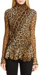 Fuzzi Leopard Print Ruffle Turtleneck Top