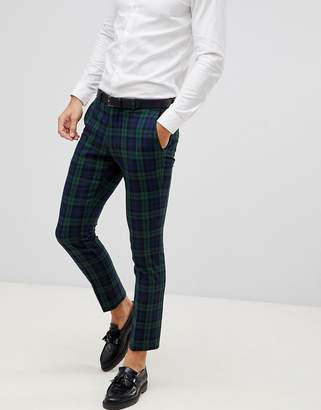 Selected Blackwatch Green Check Suit PANTS In Skinny Fit