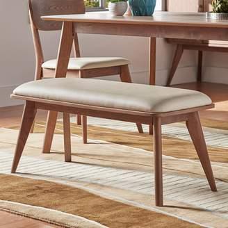 Skagen Homevance HomeVance Walnut Finish Upholstered Bench
