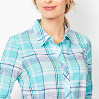 Talbots Classic Cotton Shirt - Sea Plaid