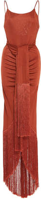 Cult Gaia Natalia Maxi Fringe Jersey Dress