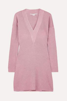 Stella McCartney Metallic Knitted Mini Dress - Pink