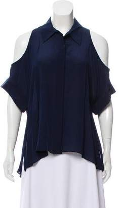 Alice + Olivia Silk Cold-Shoulder Button-Up