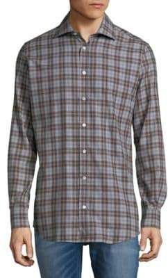 Luciano Barbera Plaid Cotton Button-Down Shirt