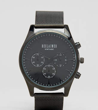 Reclaimed Vintage Inspired Chronograph Mesh Strap Watch In Black Exclusive to ASOS
