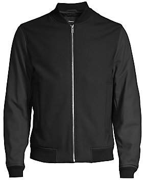 Theory Men's Brenton Leather-Sleeve Stretch Wool Bomber Jacket