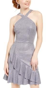 BCX Juniors' Metallic Ruffle Halter Dress
