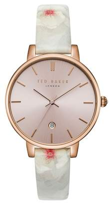 Ted Baker Kate Print Leather Strap Watch, 38mm