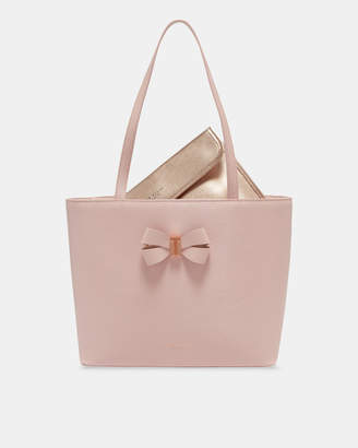 Ted Baker BOWMISA Bow detail small leather shopper bag