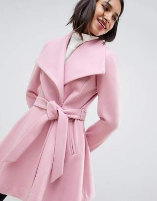 Asos Design DESIGN waterfall collar coat with tie belt