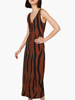 263ba8e03ab Warehouse Animal Print Pique Button Midi Dress