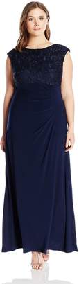 Alex Evenings Women's Plus Size Long Cowl Back Dress