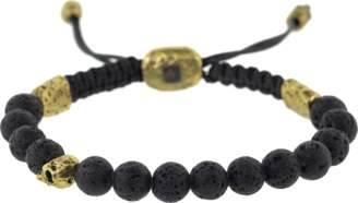 John Varvatos Lava Bead and Brass Skull Bracelet