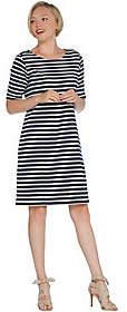 Martha Stewart Striped Scoop-Neck Elbow-SleeveT-Shirt Dress