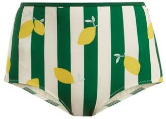 Solid & Striped The Brigitte Lemon Print Bikini Briefs - Womens - Green Print