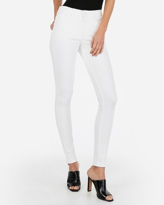 Express High Waisted White Denim Perfect Leggings