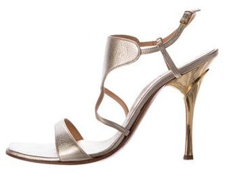 Casadei Metallic Leather Square-Toe Sandals $95 thestylecure.com