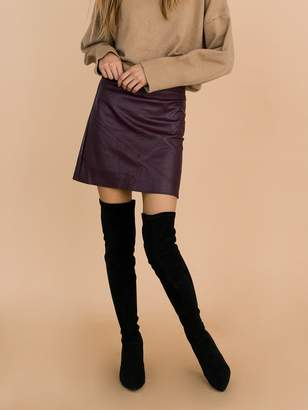 Goodnight Macaroon 'Peyton' Burgundy Faux Leather Mini Skirt