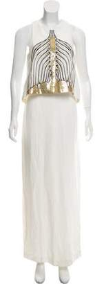 Sass & Bide Linen-Blend Embellished Dress