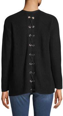 Neiman Marcus Laced-Up Back Ribbed Open-Front Cardigan